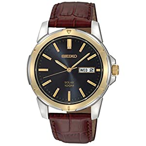 Fashion Shopping Seiko Men's SNE102 Stainless Steel Solar Watch with Brown Leather Strap, Multicolor
