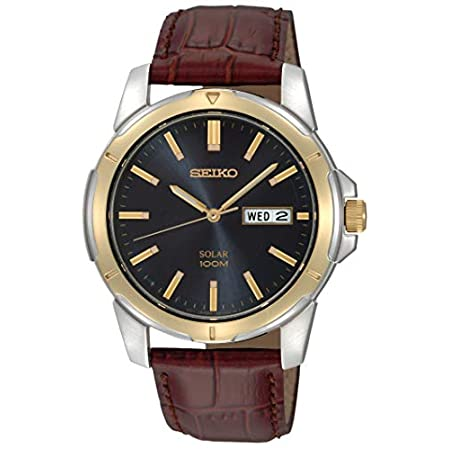 Fashion Shopping Seiko Men's SNE102 Stainless Steel Solar Watch with Brown Leather Strap, Multicolor dial
