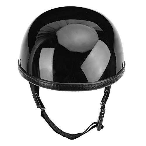 KIMISS Casco de seguridad de motocicleta, casco de ciclismo abierto de casco de fibra de vidrio negro brillante para hombres mujeres