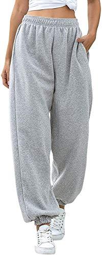 Pantaloni della Tuta Inferiori da Donna Tasche Vita Alta Sportivo Palestra Pantaloni Sportivi da Jogger Pantaloni Lounge (Grigio, S)