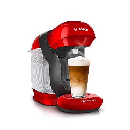 Bosch TAS1103 Tassimo Style Machine à capsules entièrement automatique, plus de 70 boissons, convient pour toutes les tasses, taille compacte, 1400 W, rouge