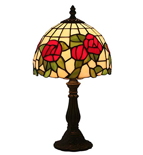 NANXCYR Lámparas de Mesa de Estilo Tiffany, lámpara de Noche de Vidrio de Rosa roja Antigua para Sala de Estar de Sala de Estar Iluminación de Dormitorio de Noche, 8'de Ancho 15' de Altura, E27