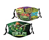 Nin-Ja Turtles 2pcs Face Cover 3d Print Bandana Replaceable Filter Dust-Proof Adjustable Reusable Washable Unisex