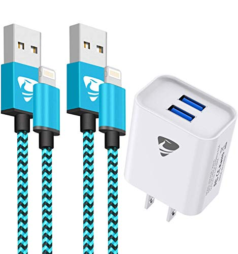 iPhone Charger, Lightning Cable 2Pack 6FT Nylon Braided iPhone Charging Cord with Dual Port USB Wall Charger,Travel Adapter Compatible with iPhone 12 Pro Max 11 XS XR X 8 7 Plus 6s 6 iPad (Blue)