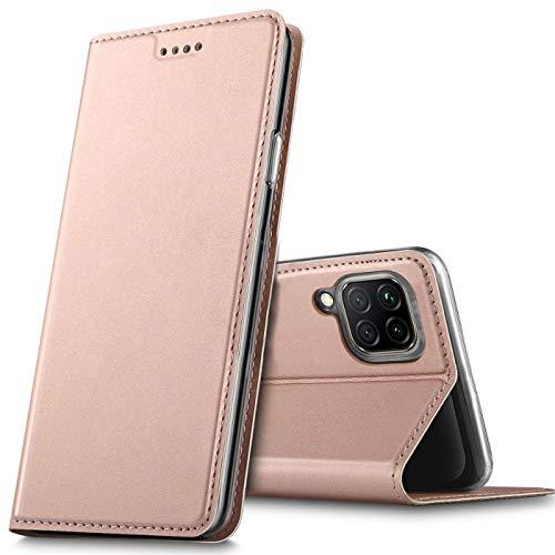 Verco Handyhülle für Huawei P40 Lite, Premium Handy Flip Cover für Huawei P40 Lite Hülle [integr. Magnet] Book Hülle PU Leder Tasche, Rosegold