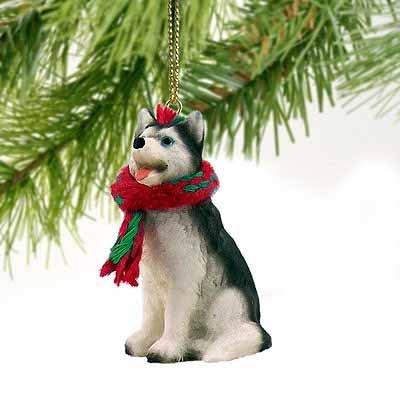 Siberian Husky blanco y negro con ojos azules en miniatura Adorno de...