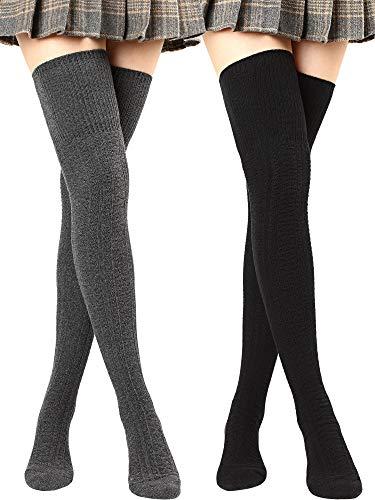 Overknee-Strümpfe für Damen, oberschenkelhohe Strümpfe, Baumwolle, lange Stiefelsocken - Grau - Large