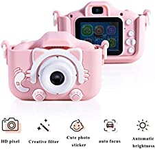 $35 » T Y Kids Camera for Girls Birthday Gifts HD 2.0 Inches IPS Screen Kids Video Camera Anti-Drop Children Selfie Toy Camera Child Dightal Camera for 3-14-Year-Old with Safe Soft Silicone Case (Pink)