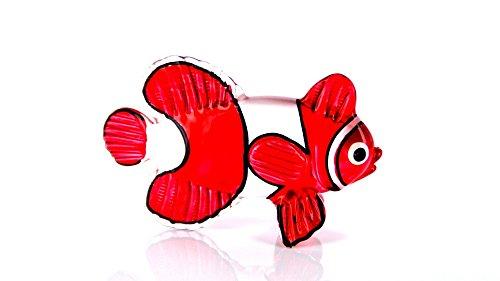 Unbekannt Clownfisch - Glas Figur Korallenfisch s 52 - Glasfigur Fisch Rot Weiß Deko