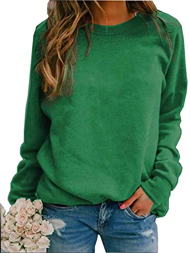 Roselux Women#039s Crewneck Long Raglan Sleeves Pullover Casual Solid Color Sweatshirts TopsChristmas GreenM