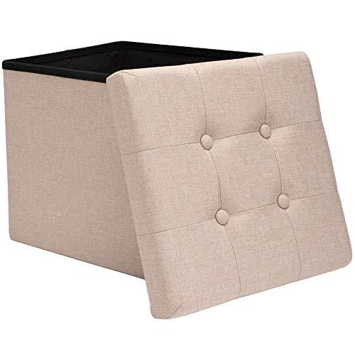 Zedelmaier Sitzhocker mit Stauraum, Fußbank Truhen Aufbewahrungsbox faltbar belastbar bis 300 kg, Leinen, 38 x 38 x 38 cm (Beige)