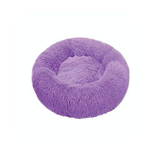 Cama de perro suave felpa gato Mat camas para perros grandes cama casa cojín redondo accesorios para productos para mascotas-púrpura-90cm