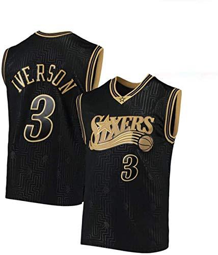 WSWZ Maglia da Basket NBA - 76Ers 3# Maglie da Uomo Allen Iverson NBA - Gilet Casual Unisex Magliette Sportive Magliette Senza Maniche,XXL(185~190CM/95~110KG)