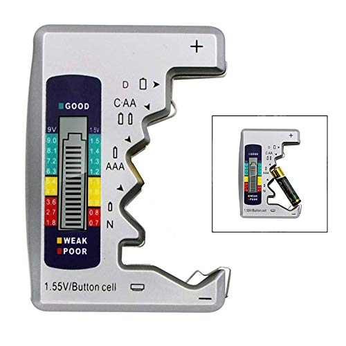 iwobi Tester della Batteria,Batteria a Bottone Tester Universale per Batteria con Display LCD Digitale per Batterie AA/AAA/C/D 1,5 V-9 V