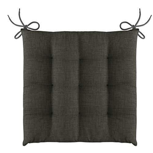 LILENO HOME 1er Set Stuhlkissen Anthrazit (40x40x4,5 cm) - Sitzkissen für Gartenstuhl, Küche oder Esszimmerstuhl - Bequeme UV-beständige Indoor u. Outdoor Stuhlauflage als Stuhl Kissen