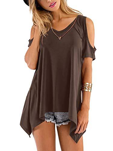 Beluring Tops Damen Sommer T Shirt Oberteil Tops Bluse mit V Ausschnitte, A-braun, 36-38 (Herstellergröße: M)