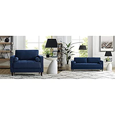 "Lifestyle Solutions Lexington Armchair, 39.80"" W x 31.10"" D x 33.50"" H, Navy Blue & Lexington Sofa in Navy Blue"