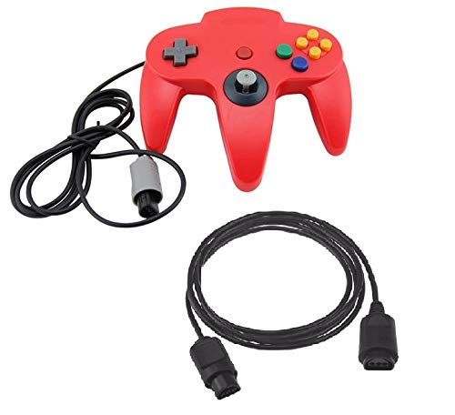 DARLINGTON & Sohns Roter Controller für Nintendo 64 N64 Joystick Rot Gamepad Joypad + Verlängerung Extansion Verlängerungskabel Gamepad