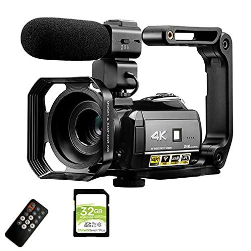tquuquu Videocámara De Video Digital, Cámara De Video De Visión Nocturna 4k...