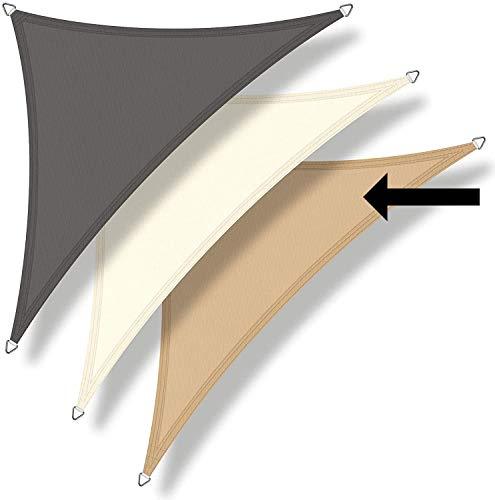 bonsport Sonnensegel Dreieck 90° wasserdicht ca. 4,0x4,0x5,8m Sand - Sonnenschutz dreieckig mit UV-Schutz für Garten, Balkon Terrasse, Camping