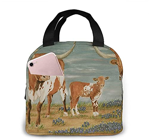Cute Animal Cow Lunch Bag Tote Bag Lunch Box Insulated Lunch Container for Woman Man
