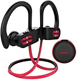 Mpow Flame Bluetooth Headphones W/Case, BT5.0 IPX7 Sweatproof Wireless Earphones W/Richer Bass, 8H Playtime, Wireless Headphones W/CVC6.0 Noise Cancellation Mic, Bluetooth Earphones, Red
