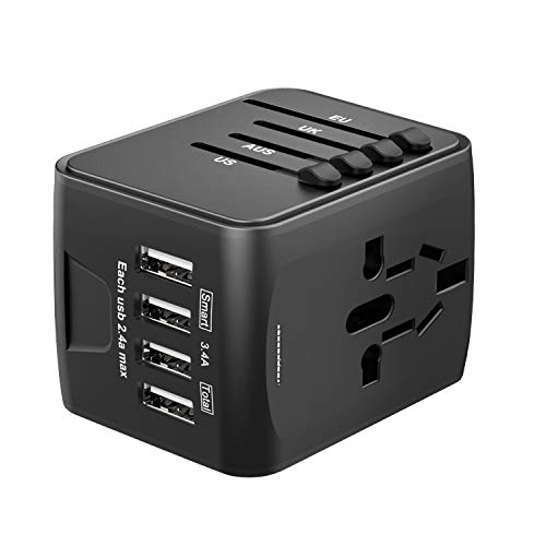 Universal Travel Adapter, International Power Adapter with 4 USB, Travel Plug Adapter for US, EU, UK, AU 150+ Countries, All in One European Adapter for iPhone, Android, All USB Devices- Black
