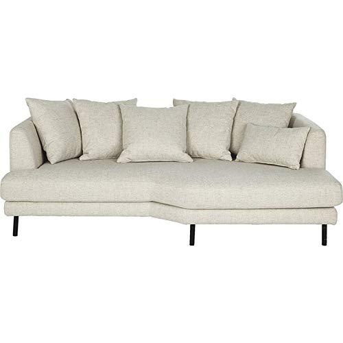 Meubletmoi TUSSAUD 3686 - Sofá fijo de 3 plazas, tejido crudo, ángulo derecho, diseño contemporáneo, color crudo