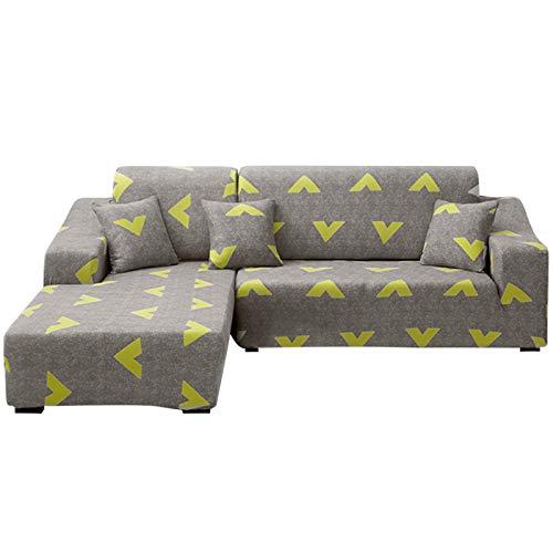 laamei Funda de Sofa Elástica Chaise Longue Brazo Largo Derecho Izquierda Funda Cubre Sofá de Forma L Protector para Sofá de Poliéster