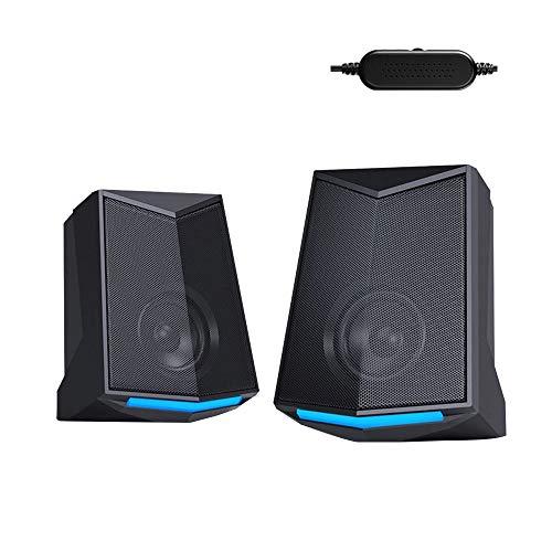 Gesh V-115 Ordenador de Escritorio Altavoz de Audio 2.0 Canal de Sonido Estéreo de Sonido de Salida de 3 W de Alimentación USB Portátil Subwoofer para PC Portátil Teléfono