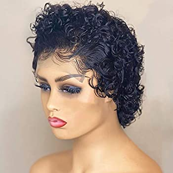 Short Pixie Cut Curly T Part Lace Wig HD Lace Wig Transparent Lace Natural Color Short Pixie Cut Wigs for Black Women Human Hair T Part Lace Front Wig Human Hair Pre Plucked Small Cap 130% 8