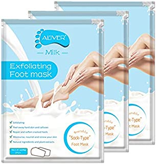 Soft Foot Peeling Mask 3 Pack -Exfoliation Baby Foot Peel -Removes Calluses,Dead and Dry Skin,Scrub Peel Mask for Men and Women (milk)