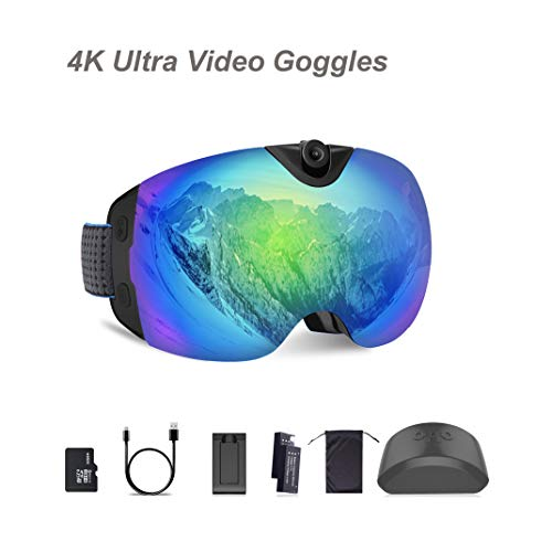 OhO Camera Ski Goggles, Anti-Fog Snowboard Goggles with UV400 Protection Dual Ski Lens, 4K 24MP Adjusted Action Camera, Low Temperature Working Battery (S6 Model)