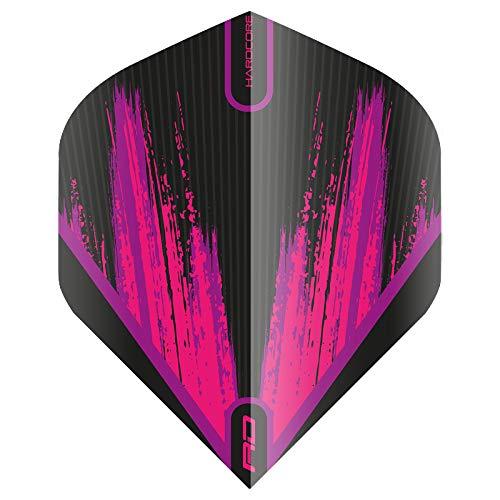 Red Dragon Hardcore Radical Dart-Flights – 4 Sets pro Packung (12 Dart-Flights insgesamt), schwarz/pink