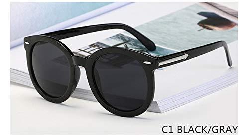 AWC Neue Pfeil Sonnenbrille Frauen Retro Niet Runde Brille Transparent Multicolor Poplular Sonnenbrille Gafas de Sol Mujer UV400, Schwarz Grau