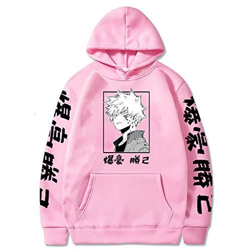 JMSUN My Anime Hero Academia Bakugou Hoodie Sweatshirts Men Women Pullover Casual Sweatshirts Harajuku Tracksui Pink
