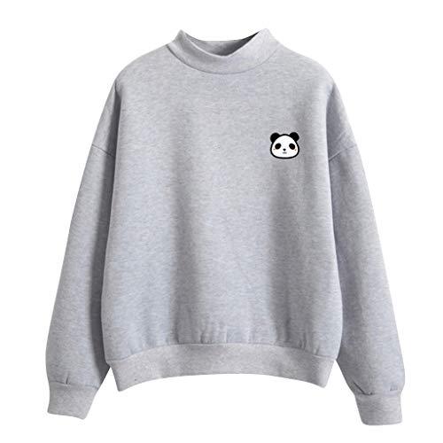 Kolila Damen Langarmshirts Tops Sweatshirts Pullover Lose Beiläufige Cute Panda Print Einfarbig Rundhalsausschnitt Warm Plus Samt
