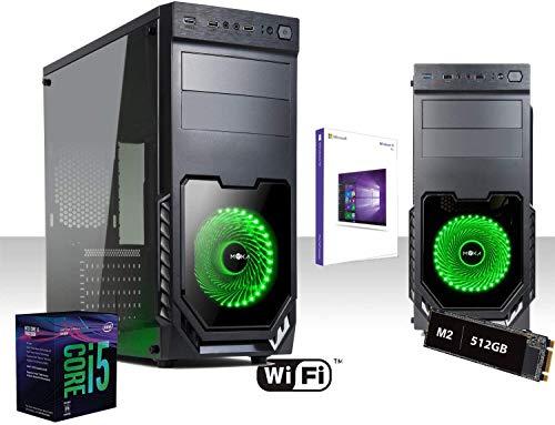 Pc Desktop I5 9600k 4.6 GHZ Six-Core 9 ° Gen, Ssd 512GB, Ram 16GB DDR4 2666Mhz, Scheda Video UHD 4K USCITE HDMI DVI VGA Wifi 300 Mbps DVD CD RW, Atx 600 Watt, Windows 10 Pro 64 bit