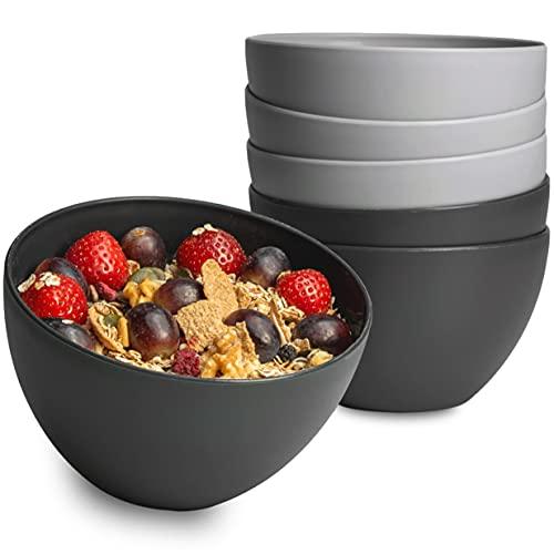 Hausfelder Bowl Müslischalen 6er Set - 750 ml Suppenschalen, Dessertschalen Schüssel Set aus Kunststoff (Anthrazit und Grau)
