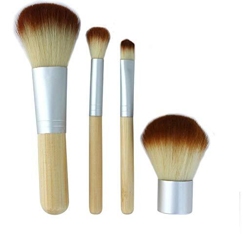 HZT 4 Pinceaux De Maquillage À Manche en Bambou Quatre Pinceaux De Maquillage À Manche en Bambou Ensemble De Pinceaux pour Sac en Lin