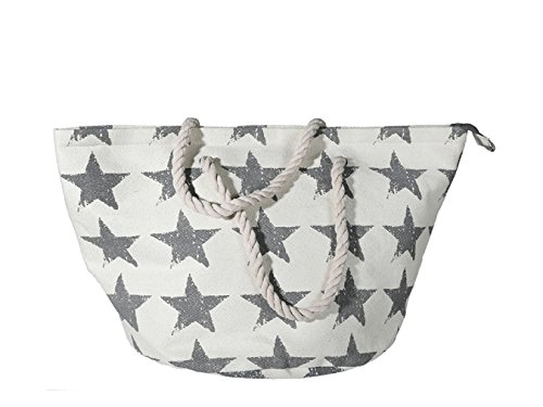 Einkaufstasche,Shopper creme ausgewebtem Naturmaterial mit grauem Sterndekor,Kordelgriff und Innentasche