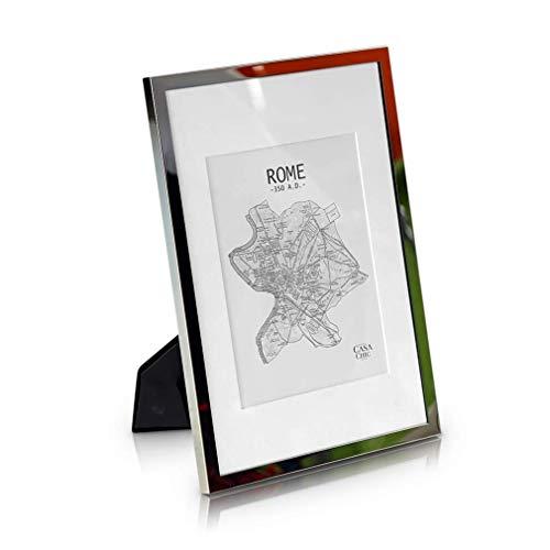 Elegance by Casa Chic A4 Bilderrahmen Silber - Mit Passepartout für 20x15 cm Foto - Front aus Glas - 1,5 cm Rahmenbreite - Versilbert
