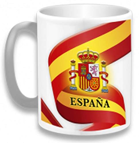 Tiendas LGP- Barbaric- Taza Ceramica Bandera de España Decorada con impresión fotografica 3D con Motivos de la Bandera de España