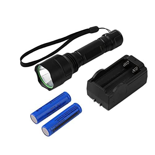 1800LM C8 XM-L T6 LED linterna antorcha lámpara 18650 batería + cargador antorcha de pesca para acampar al aire libre negro