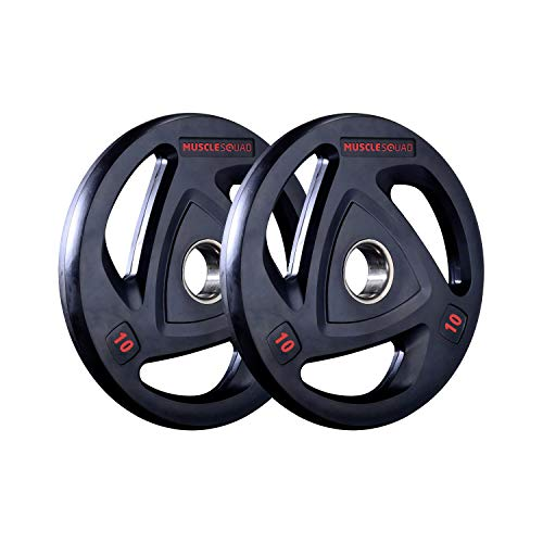 MuscleSquad Rubber Tri Grip Olympic Weight Plates sold in pairs 1.25kg to 20kg (10, Pair)