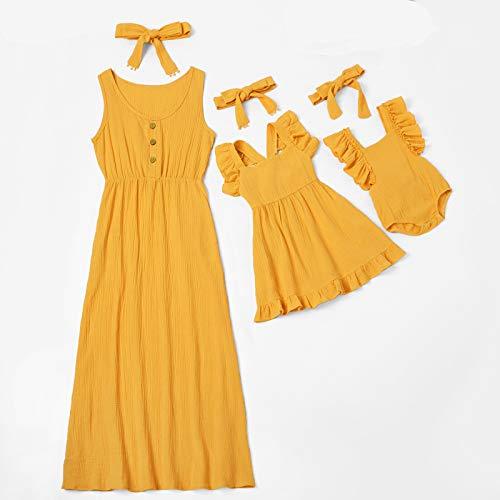 Vestido De Madre E Hija, Verano Amarillo Sólido Gasa Sin Mangas Vestido De Tanque para Mamá Hija Bebé Romper Pop Padre-Niño Trajes A Juego, Niña 2Y