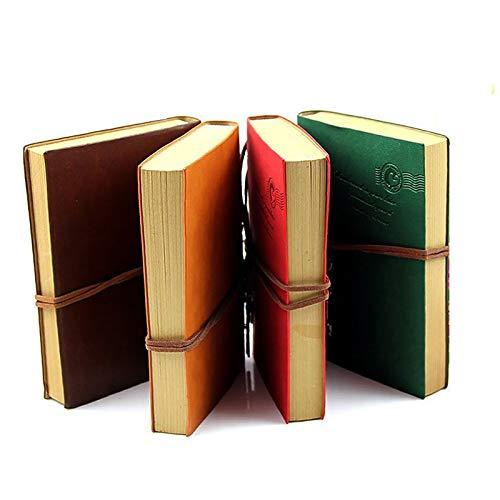 1 libro de notas de piel retro con cubierta de poliuretano, diario de viaje, hojas sueltas, colgantes retro vintage, cuerda de corbata, para bocetos y notas de escritura