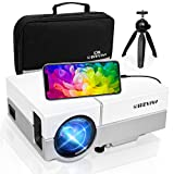 Mini Projector,Wevivi 2021 Upgraded Native 720P Home Projector with Tripod and Carry Case,1080P and 220' Display Supported Movie Projector, Compatible with iPhone, TV Stick, PS4,DVD for Android/iOS