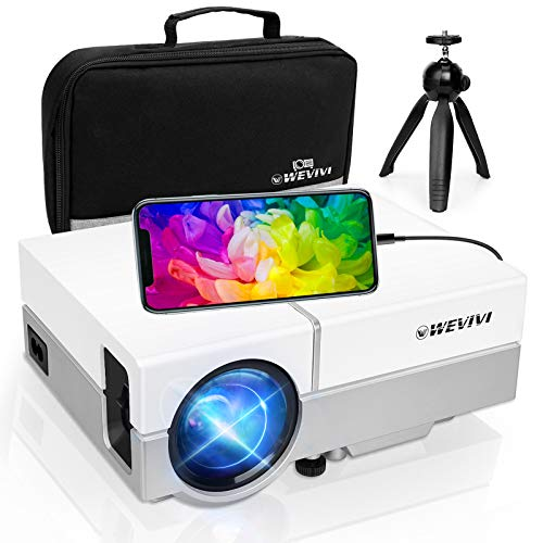"""Mini Projector,Wevivi 2021 Upgraded Native 720P Home Projector with Tripod and Carry Case,1080P and 220"""" Display Supported Movie Projector, Compatible with iPhone, TV Stick, PS4,DVD for Android/iOS"""