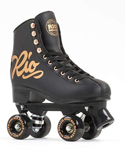 Rio Roller Quad Skates Rollschuhe für Kinder, Jugendliche, Unisex, Pink (Rose Black), 35,5